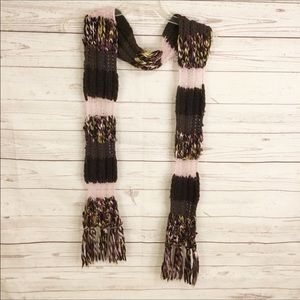 Lucky Brand Knitted Wool Blend Scarf Pink Brown